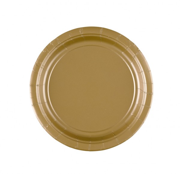 8 paper plates Partytime Gold 17.7cm