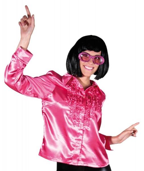 Chemisier rose à volants disco pour femme