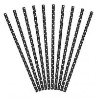 10 Gepunktete Papier Strohhalme schwarz 19,5cm