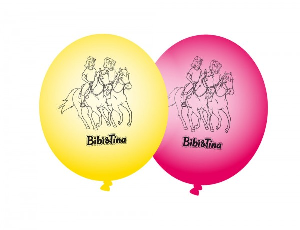 8 Bibi and Tina latex balloons yellow-pink