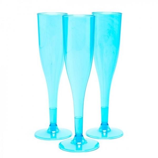 20 bicchieri di champagne in plastica blu turchese 162ml