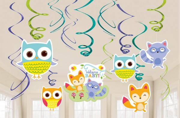 Decoracion De Baby Shower De Animales.Baby Shower Animales Adorables Del Bosque Remolino Colgando Decoracion