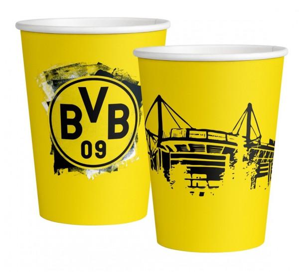 8 vasos de papel BVB Dortmund 250ml
