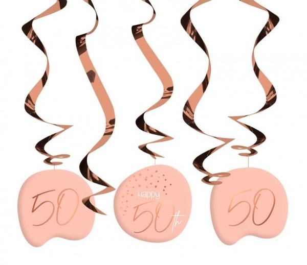 50th birthday hanging decoration 5 pieces elegant blush rose gold
