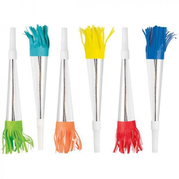 6 tubos de fiesta de colores metálicos