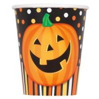 8 Halloween Kürbis Spaß Pappbecher 266ml