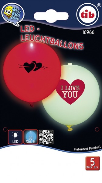 5 Shining Love LED balloons 23cm