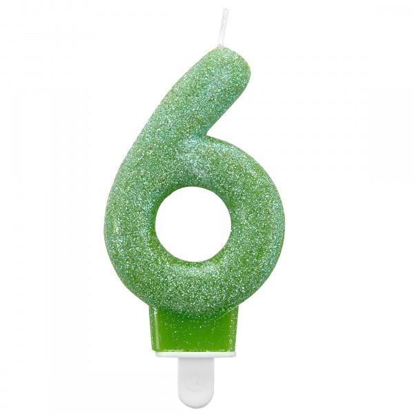 Glitzernde Zahlenkerze 6 in Grün