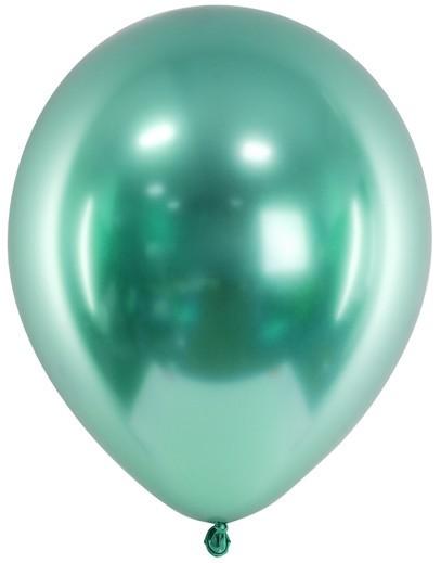 50 ballons métalliques de fête vert perle 27cm