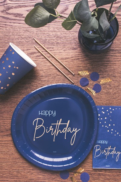 40th birthday 8 paper plates Elegant blue