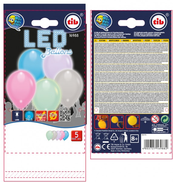 5 colored LED balloons pastel 23cm