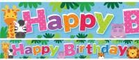 3 süße Safari Geburtstags Banner