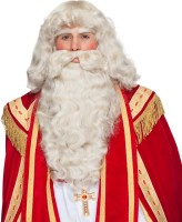 Perruque de Père Noël nostalgique avec barbe et sourcils