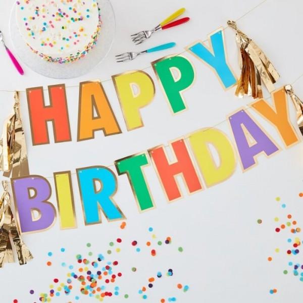 DIY Regenbogen Happy Birthday Girlande 3m