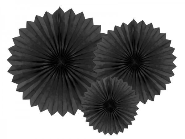 3 rozety papierowe Partystar czarne