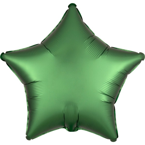 Noble satin star balloon emerald green 43cm