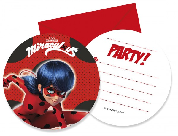 6 cartes d'invitation Miraculous Zag