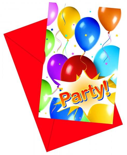 6 Luftballon Fiesta Einladungskarten