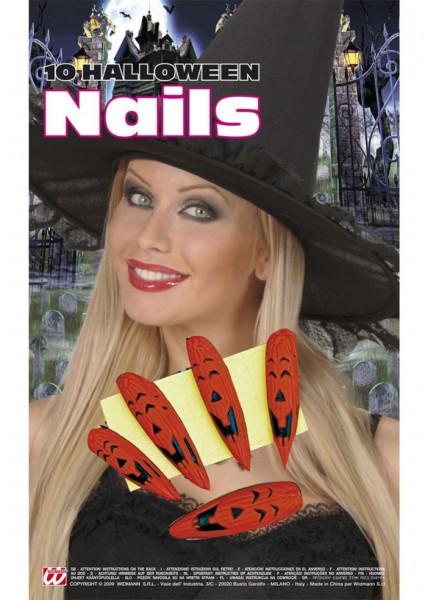 Klebenägel Halloween Kürbis Fingernägel