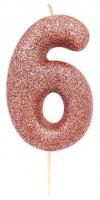 Glitzernde Zahl 6 Tortenkerze roségold 7cm