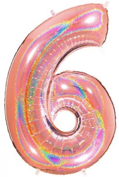 Globo holográfico número 6 oro rosa 1.01m