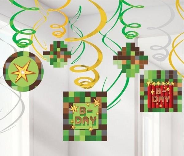 12 spiralnych wieszaków TNT Pixel Party 61 cm