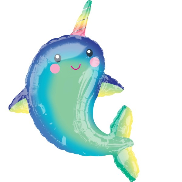 XL rainbow narwhal foil balloon