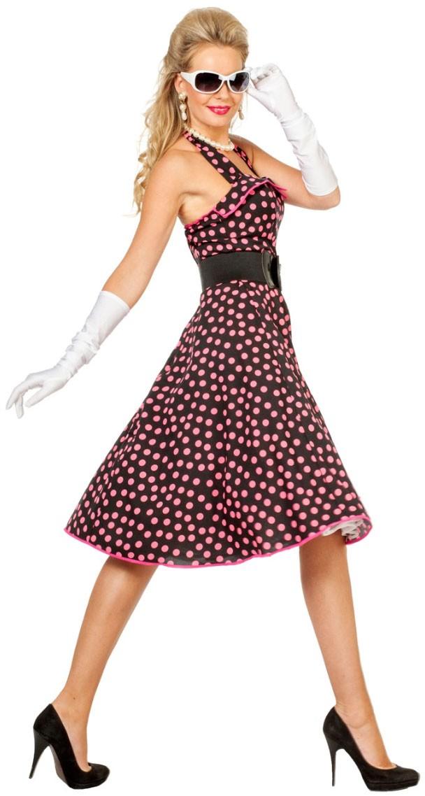 Polka Dots Kleid Rosa Schwarz Kostüm Für Damen | Party.de