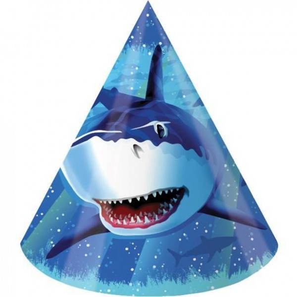 8 shark party hats