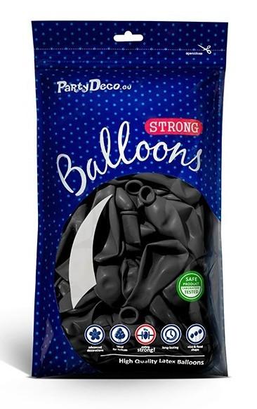 50 Partystar metallic Ballons schwarz 27cm