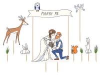 10 Marry Me Tortendeko Motive 7,3 bis 23cm