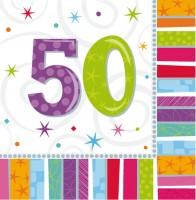 16 Bunte Regenbogen Servietten 50.Geburtstag