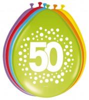 8 Regenbogen Ballons 50. Geburtstag