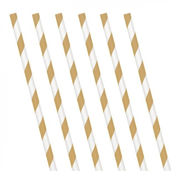 24 gold white striped paper drinking straws 19cm