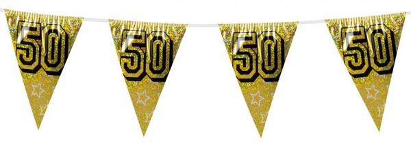 Goldene 50 Wimpelkette Holografisch