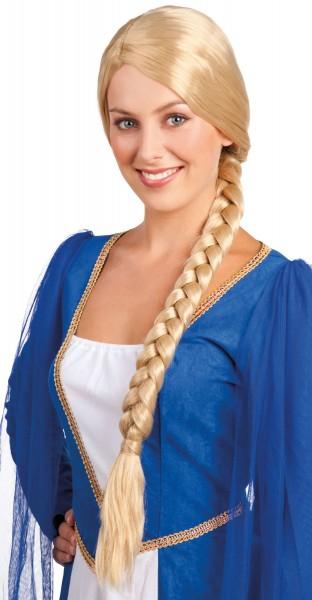 Blonde Burgfäulein Zopfperücke
