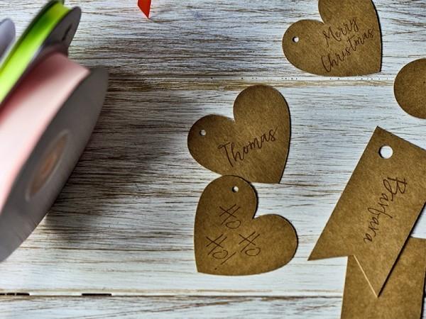6 étiquettes cadeaux cœur naturel