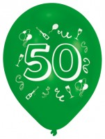 10er-Set bunte Zahl 50 Luftballons