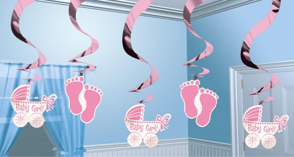 Décoration à suspendre bébé princesse tourbillon rose