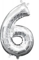 Mini Folienballon Zahl 6 silber 35cm