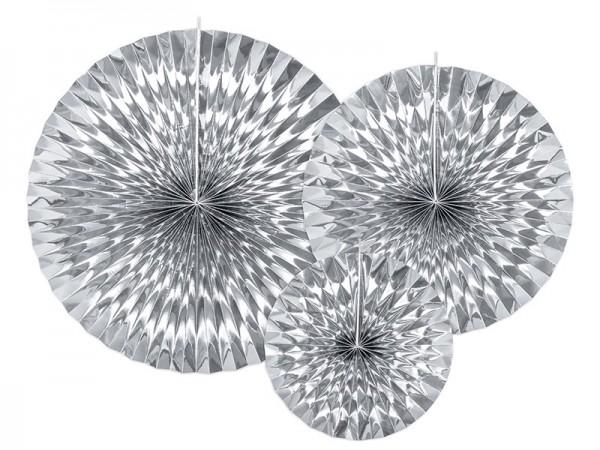 3 rosetas de papel metalizado plateado