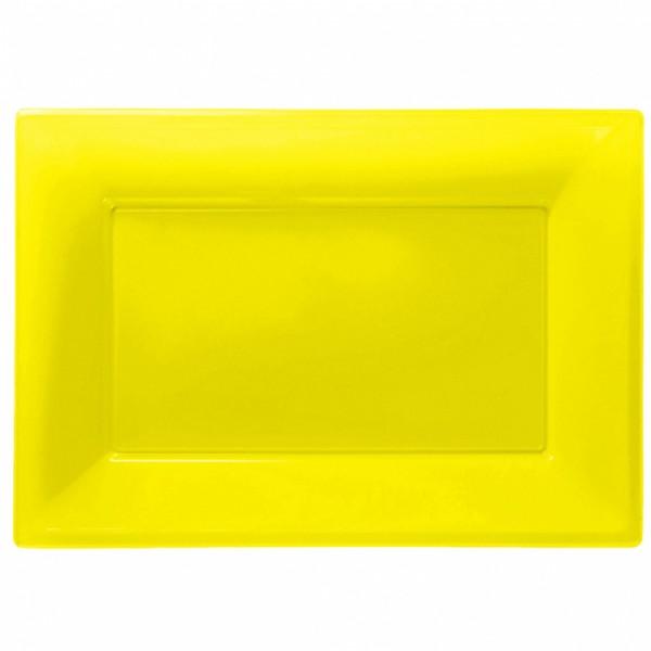 3 yellow serving plates 33 x 23cm