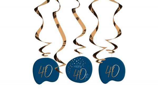 Décoration à suspendre 40e anniversaire 5 pièces Bleu élégant