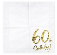 20 Glossy 60th Birthday Servietten 33cm