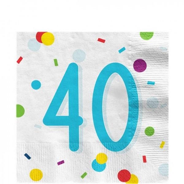 Serviettes confettis 40e anniversaire 33cm