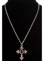 Gothik Vampirin Kreuzkette Mit Rotem Juwel