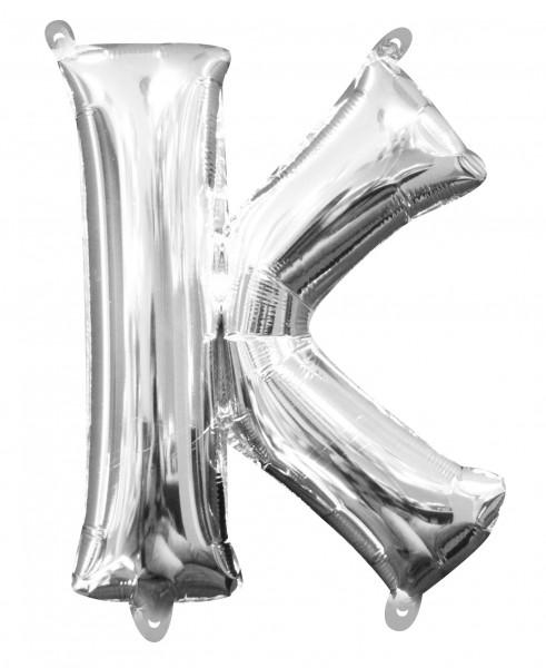 Palloncino mini foil lettera K argento 40cm