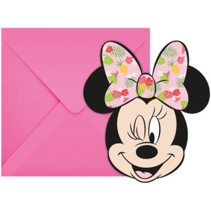 6 Tropical Minnie Mouse Einladungen
