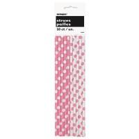 10 gepunktete Papier Strohhalme rosa weiß