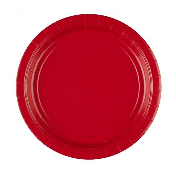 8 paper plates Partytime Red 22.8cm